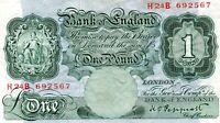 1934 BANK OF ENGLAND B238  PEPPIATT  ONE POUND BANKNOTE  H 24 B692567  gVF