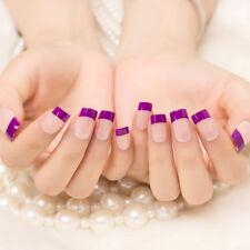 24pcs Purple French Acrylic Fake Fingernails False Nail Art Full Tips for ladies