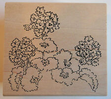 Geranium Bouquet Rubber Stamp - Wood Mounted