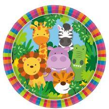 Jungle amis assiettes en papier 23cm 8pk animaux fête d'anniversaire vaisselle