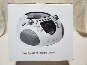 Boom Box CD-191 Double Display CD Player AM/FM Radio & Alarm Clock New In Box