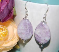 Purple SUGILITE Gemstone 925 STERLING Silver Earrings ~ 35mm ~ PALE Markings