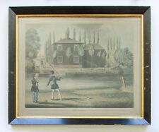 Antique Hand-Colored Aquatint Fly Fishing After James Pollard British 19th C.