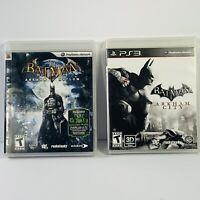 Batman Arkham City & Arkham Asylum PlayStation 3 PS3 2 Game Lot Complete CIB