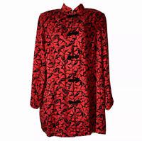 90s MANDARIN RED BLACK SILK JACQUARD EASTERN JACKET EVENING BOW PRINT UK 14 M