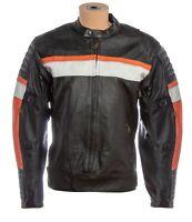 Vintage Mens Real Leather Motorcycle Riding Biker Cafe Racer Armor Pad Jacket
