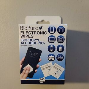 Electronic Wipes 100 ct. BioPure. Isopropyl Alcohol 70%. Fragrance Free