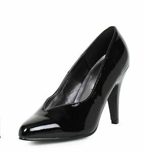 Black Wide Width Pumps Crossdresser Drag Queen Womans Large Size Shoes 12 13 14