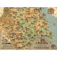 Map Clark 1949 Yorkshire England British Railways Huge Wall Art Poster Print