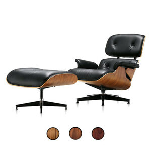Eames Style Lounge Chair and Footstool Ottoman 100% Real Leather Walnut Rosewood
