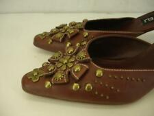 """Womens sz 8 M Vaneli brown leather brass floral studded mules shoes pump 2"""" heel"""