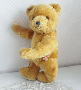 HERMANN teddy BEAR  bouton derrière sa tête mohair/paille 50's ancien OURS 30 cm