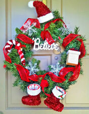 "Handmade Christmas Wreath 22"" Pine Whimsical BELIEVE Santa Holiday Door Decor"
