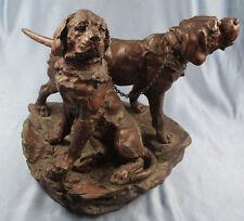 antike Bronze figur pointer wirehead rauhhaar jagdhund Two Hounds bronce