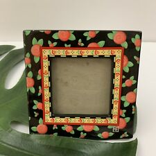 Mary Engelbreit Red Roses Ceramic Picture Frame 3x3 Black Small Decorative