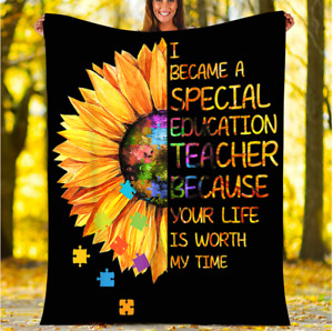 I became a special education teacher, Sunflower Fleece, Quilt Blanket USA