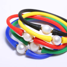 Natural Real White Fresh water Pearl 11-12mm Silicone Rubber Band Bracelet