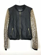 63684d2a0e94be Atmosphere Faux Quilted Leather Gold Sequin Bomber Jacket Women s Coat 10 A1