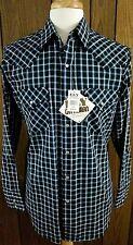 Ely Cattleman Pearl Snap Western Shirt Black Blue Plaid Mens Medium New NWT