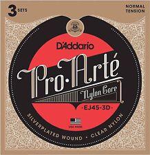 3 Sets D'Addario EJ45 Pro Arte Classical Guitar Strings - Normal Tension