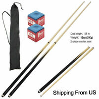 58 inch Brand New 2-Piece Wood Pool Cue with Accessories Billiards Stick Set