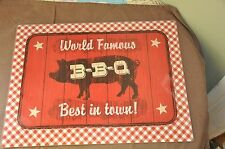 """Glass Cutting Board 11 1/2 X 15 1/2 - """"World Famous BBQ Best in Town!"""""""