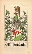 1880 ARALDICO STEMMA DI FAMIGLIA stampa ~ zscheggenburlin ~ BASILEA