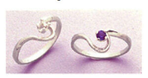 Sterling Silver 3mm Round Swirl Style Birthstone Pre-Notched Ring Setting Sz 4-7