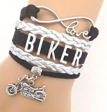 Biker Motorcycle Infinity Bracelet Black Leather Charm Live To Ride QUALITY USA