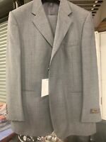 New 44R 3 Button Men's Grey Suit 100% Wool Made in Italy Retail $1295