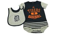 MLB Detroit Tigers Majestic Baby Infant 3 Piece Creeper Bib & Boots Set New