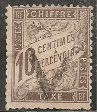 France Postage Due Stamp - Scott #J30/D2 10c Brown Canc/LH 1893