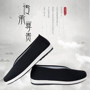 Retro Men Traditional Chinese Espadrille Slipper Shoes KungFu Flat Martial Black