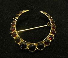 Vintage 9Ct 1970s Art Deco Style Gold/Garnet Crescent Moon Brooch-UK Hallmarked