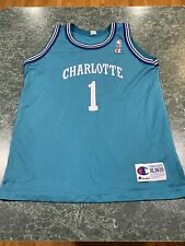 Vintage Champion Charlotte Hornets Muggsy Bogues Jersey YOUTH XL / ADULT SMALL