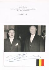 Belgium Gaston Eyskens 1905-88 signed album page with attached picture