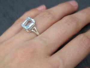 Sterling silver 925 Beautiful genuine aquamarine Ring GemStone engagement Ring