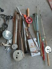 Lot of Vintage Ice Fishing Tip Ups Fish Rods Ice Cleats Gaff Lures More Look!