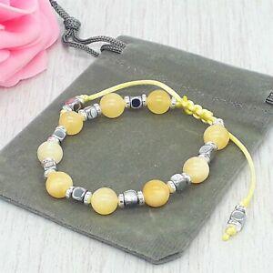Handmade Natural Adjustable Yellow Jasper Gemstone Bracelet & Velvet Pouch.6/8mm