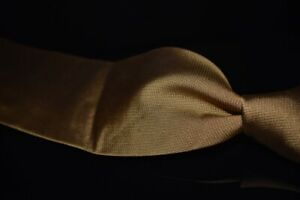 Ermenegildo Zegna Woven Solid Hobnaill Amber Mustard Textured Silk Tie Italy NR