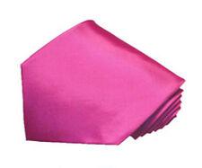 Men's 100% silk solid hot pink color tie