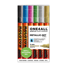 Molotow ONE4ALL 127HS Metallic- Set  (2mm) Acrylic pump Paint art markers