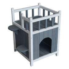 """New listing 25"""" Wooden Pet House In/Outdoor Cat Cottage Small Dog Shelter With Balcony Us"""
