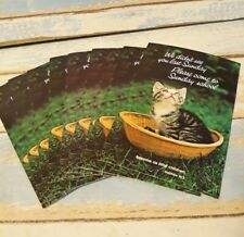 10 Vtg Paper Ephemera Postcards Sunday School Church Kitten Basket Litho Usa