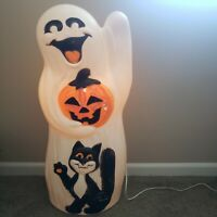 Vintage Halloween Ghost Blow Mold With Pumpkin And Black Cat