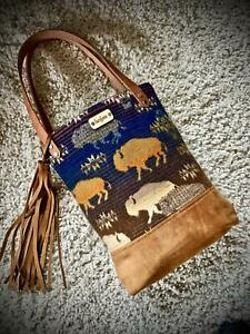 Pendleton Wool and Leather Tote Bag Purse Crossbody cross body Bison Buffalo