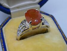 Very Beautiful Ladies 9ct White Gold Tibetan Sunstone Solitaire Ring Size N 3.3g