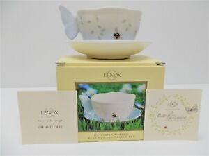 Lenox Blue Handle Butterfly Cup And Saucer Set * Brand New In Box