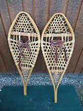 "SNOWSHOES 42"" Long x 14"" Wide  Signed GROS LOUIS with  Leather Bindings"