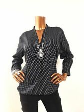 Michael Kors Women M Top Blouse 3/4 Sleeves Black/White Polka Dots